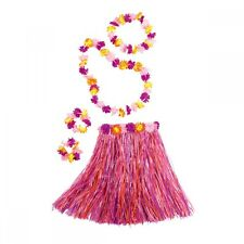 Ladies Pink Hawaiian Set - Skirt - Headband - Lei - Wristbands - Dance Costume