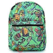 TMNT Ninja Turtles All Over Print Large School Backpack Padded Laptop Tablet GR