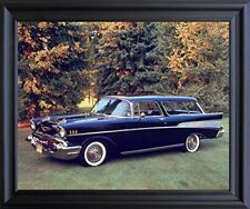1957 Chevy Nomad Bel Air Vintage Car Black Wall Decor Framed Art Print Picture