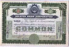 Kolster Radio Corporation Stock Certificate Delaware