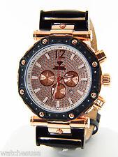 Aqua Master Men's Steel Case Black Leather Chronograph Diamond Quartz Watch