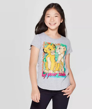 "Girls' the Lion King Simba and Nala ""By your Side"" Gray Short Sleeve T Shirt NWT"