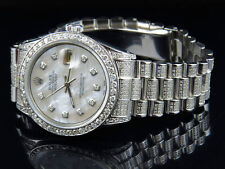 Mens Stainless Steel Rolex Datejust Presidential 36 MM Mother Pearl Watch 6.9 Ct