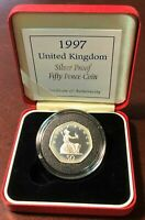 Pure 92.50% Silver Proof Fifty Pence Coin 1997 United Kingdom with COA in Box UK