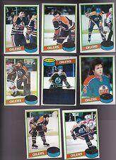 1980 / 81 Topps Team SET lot of 8 Edmonton OILERS NM+ Wayne GRETZKY MURDOCH