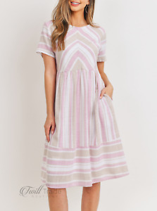 Ces Femme | Pink Taupe S/S Round Neck Striped Knee-Length Midi Dress NWT S M L