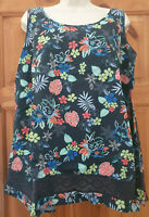 Blue Floral Sleeveless Top by Evans Womens Ladies UK Size 16. Brand new