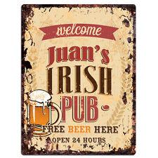 PMBP0052 JUAN'S IRISH PUB Rustic tin Sign PUB Bar Man cave Decor Gift