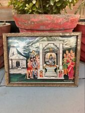 Antique Old Hindu Gods Offer Praying Lord Shiva Rare Religious  Print Framed