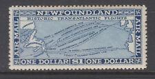 Newfoundland Sc C8 MLH. 1931 $1 blue Trans-Atlantic Routes, unmkd, sound, LH.