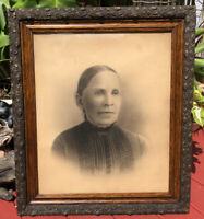 Antique Victorian Wood Picture Frame Native American Portrait Wavy Glass 29 X 25