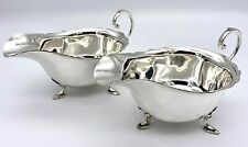 More details for mappin & webb silver plate sauce boats – pair circa 1935