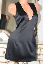 ETAM Black Elasticated Faux Satin Fitted Mini Dress Tunic  Size 12