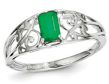 Ladies Natural Green Emerald Ring 2/5 Carat (ctw) in Polished Sterling Silver
