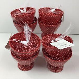 Red Kitchen Set of 8 Plastic 17oz Ice Cream Sundae Bowls Dessert Picnic Pool BBQ