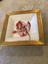 Villeroy Boch Sentiments Dish Trinket China Container Flower With Gold Trim