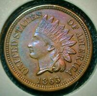 1863 Indian Head Cent in Uncirculated Condition w/nice Colorful Toning (557)