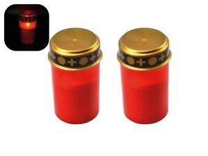 2er Set LED Grablicht rot Grabkerze, flackernde Flamme, Grabschmuck, Kerze