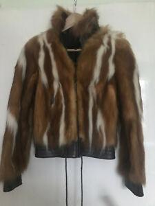Amazing CAVALLI Fox fur and leather jacket £1,980 UK 8 IT 40 US 4