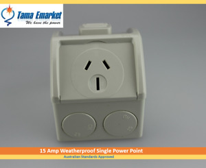 15 Amp Mini Weatherproof Single Power Point 15A Socket Weather Proof Outlet