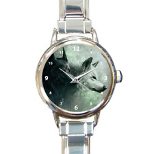 Pair of Wolves Wolf Pack Charm Bracelet Gift Round Italian Charm Wrist Watch