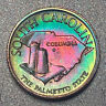SOUTH CAROLINA Proof Franklin Mint Sterling Silver Mini Coin - Rainbow Toning
