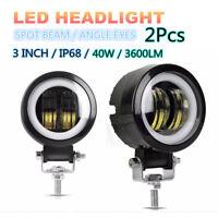 2PC Spot Beam Round CREE LED Angel Eyes Light Bar DRL 20W IP 68 For Truck Pickup