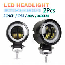 2PC Spot Beam Round CREE LED Angel Eyes Light Bar DRL 20W IP 68 For Truck Pickup