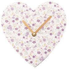 Florella Floreale Stampa Shabby Chic a forma di cuore piccolo orologio da parete HOME DECOR REGALO