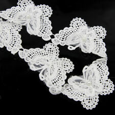 Butterfly White Flower Mesh Faux Pearl Lace Trim Applique Belt Sew DIY Craft 2Yd