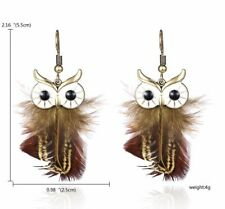 Boho Festival Party Boutique Uk Nee Brown Feather Owl Tassel Fashion Earring