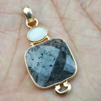 925 Sterling Silver Black Rutile gemstone rose gold Pendant 4.64 gms Jewelry