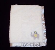 Carters Child of Mine Mom Baby Elephant Blanket White Gray Yellow Polka Dot Trim