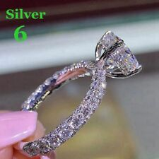 Diamond Chic Silver Plated Engagement Jewelry White/Gold Filled Wedding Ring