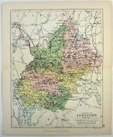 Original 1882 Map of the County of Longford, Ireland by George Philip. Antique