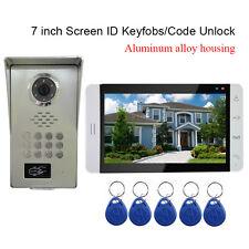 "7"" Video Door Phone doorbell Intercom Aluminum Alloy Code Camera RFID Keyfobs"