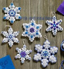 Bucilla Sparkle Snowflakes ~ 6 Pce Felt Christmas Ornament Kit #86724 Blue White