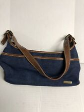Denim  blue  brown  leather handbag purse  bag by Connection Pre-owned