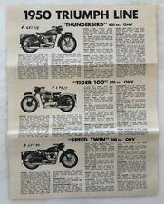 1950 TRIUMPH Line MOTORCYCLE Sales Flyer VINTAGE ADVERTISING Tiger THUNDERBIRD