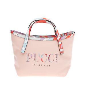 RRP €490 EMILIO PUCCI Leather Tote Bag Bag Printed Logo Patterned Trim Zipped