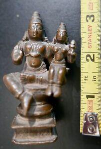 Antique Miniature Hindu Icon,  'Lakshminarayana',  Bronze,  S India,  18th c.