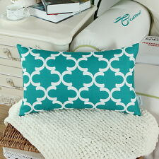"""CaliTime Cushion Covers Throw Pillows Shells Teal Quatrefoil Geometric 12"""" X 20"""""""