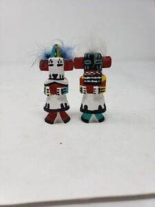 "2 Vintage Hopi Kachina Dolls Guard & Thunder by L. Pooley hand carved doll 3.5"""
