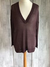 Label Lab lila Mulberry Leiter Strick Slouch V Neck Pullover Small NWOT