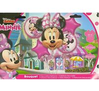 New Disney Junior Minnie Mouse Birthday Foil Mylar 5pc Balloon Bouquet Party