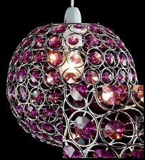 Round Globe Pendant Light Shade Pendent Chrome Crystal Plum Purple 25 Cm LMB043
