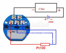 24VDC NEU PT100 Temperatur Messumformer Sensor 0 ~ +400℃ Aus 4-20mA Leistung