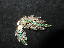 Trifari Signed Vintage Pin Brooch Rhinestone Crystal Blue Green Leaf Antique