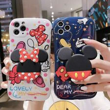 Creative Cartoon Mickey Minnie Couple Holder Phone Case Cover For iPhone11 XR XS
