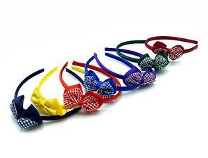 Girls Gingham Bow Headband Aliceband Hair Accessories School Hair Bands